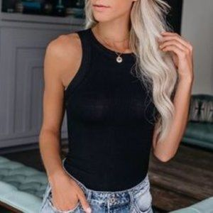 New Go To Cotton Ribbed Tank Top in Black